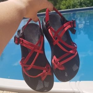 Custom red Chacos. GREAT condition